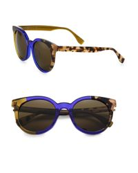 Fendi - Blue Colorblock Round Sunglasses - Lyst