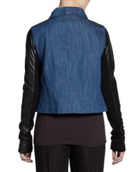 VEDA | Blue Leather sleeve Denim Jacket | Lyst