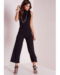 66751e8b148d Lyst - Missguided High Neck Culotte Jumpsuit Black in Black
