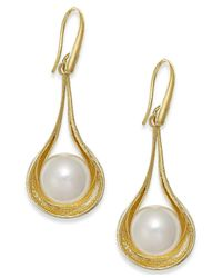 Macy's | Metallic Cultured Freshwater Pearl Teardrop Earrings In Vermeil (9mm) | Lyst