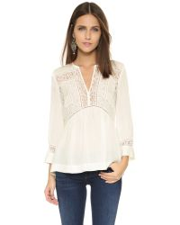 Rebecca Taylor | Natural Silk & Lace Top - Snow | Lyst