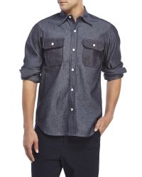Woolrich | Blue Button-Down Two-Pocket Sport Shirt for Men | Lyst