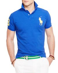 Ralph Lauren | Blue Polo Custom Fit Big Pony Mesh Polo Shirt - Slim Fit for Men | Lyst