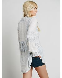 Free People - Blue Border Print Collar Tunic - Lyst