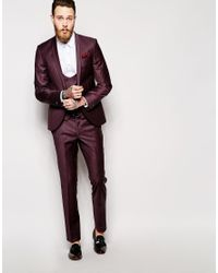 Noose And Monkey - Purple Suit Trousers With Stretch In Super Skinny Fit for Men - Lyst