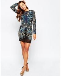 ASOS | Multicolor Red Carpet Peacock Embellished Long Sleeve Mini Bodycon Dress | Lyst