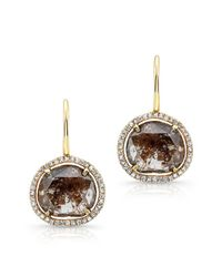 Anne Sisteron | 14kt Yellow Gold Organic Diamond Slice Wire Back Earrings | Lyst