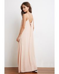 Forever 21 | Pink Lace-up Back Maxi Dress | Lyst