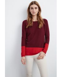 Velvet By Graham & Spencer - Red Marvella Colorblock Cashmere Sweater - Lyst