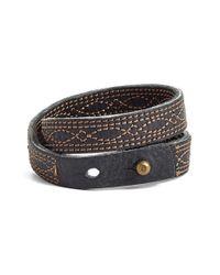 Frye - Black 'campus Stitch' Leather Wrap Bracelet - Lyst