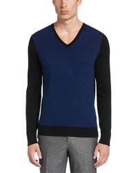HUGO | Blue 'shermor' | Cotton Silk Cashmere Herringbone Sweater for Men | Lyst