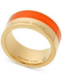 Michael Kors - Orange Gold-Tone Colorblocked Band Ring - Lyst