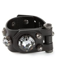 Lanvin | Black Leather Band Bracelet | Lyst