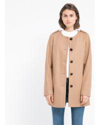 Mango - Brown Buttoned Wool-Blend Coat - Lyst