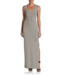 Nicole Miller Artelier | Black Striped Tank Maxi Dress | Lyst