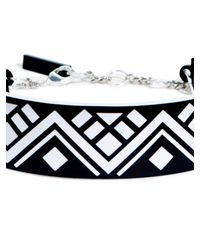 DKNY | Black Engraved Tribal Choker Necklace | Lyst