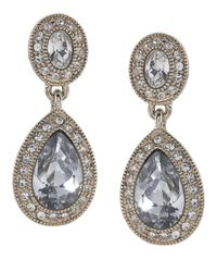 Carolee | Metallic Crystal Teardrop Earrings | Lyst