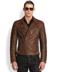 Ralph Lauren Black Label - Brown Thunderbolt Leather Biker Jacket for Men - Lyst
