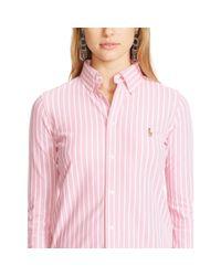 Polo Ralph Lauren | Pink Striped Knit Oxford Shirt | Lyst