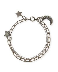 Lanvin | Metallic Crystal Star & Moon Short Necklace | Lyst