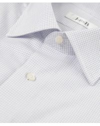 Jules B - White Micro Check Shirt W/ Pocket Square for Men - Lyst