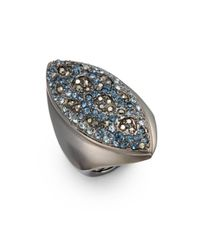 Judith Leiber - Blue Crystal Pavé Marquis Cocktail Ring - Lyst