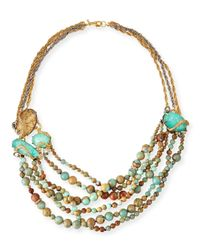 Alexis Bittar | Metallic Multi-Strand Beaded Jasper Necklace | Lyst