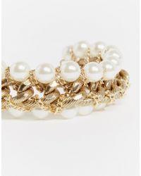Pieces | Metallic Rilo Faux Pearl Chain Cuff Bracelet | Lyst