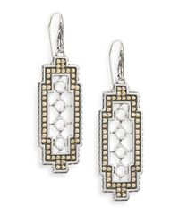 John Hardy | Metallic Dot Two-tone Geometric Drop Earrings | Lyst