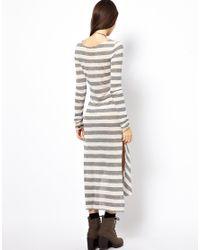 Free People | Gray Dress in Striped Jersey with Side Split | Lyst