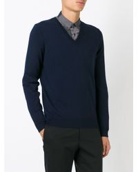 Burberry - Blue V-neck Jumper for Men - Lyst