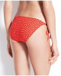 Ann Taylor | Red Mini Anchor Print Side Tie Bikini Bottom | Lyst