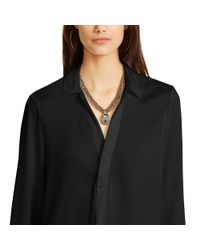 Polo Ralph Lauren - Black Collared Split-placket Blouse - Lyst
