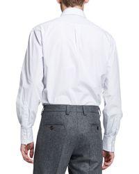 Brunello Cucinelli - White Micro-windowpane Button-down Shirt for Men - Lyst