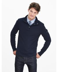 Banana Republic | Blue Waffle-knit Snap-placket Pullover for Men | Lyst