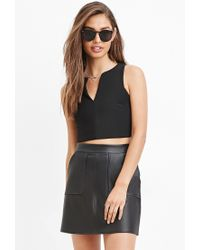 Forever 21 | Black Faux Leather Mini Skirt | Lyst