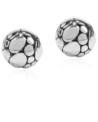 Aeravida | Metallic Round Dome Pattern .925 Silver Stud Earrings | Lyst