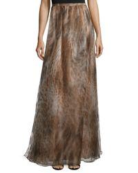 Sally Lapointe - Brown Pleated Silk Maxi Skirt - Lyst