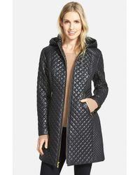 Via Spiga | Black Hooded Front Zip Quilted Coat | Lyst