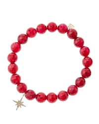 Sydney Evan | Red Agate Beaded Bracelet With 14K Gold/Diamond Small Starburst Charm (Made To Order) | Lyst
