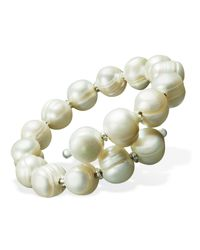 Macy's - Multicolor Pearl Bracelet, Sterling Silver Cultured Freshwater Pearl Wrap Cuff (10-11mm) - Lyst
