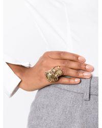 Alexander McQueen | Black Floral Skull Cocktail Ring | Lyst