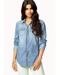 Forever 21 - Blue Star Print Distressed Denim Shirt - Lyst