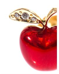 Alison Lou - Red Diamond Enamel Gold Apple Earring - Lyst