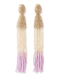 Oscar de la Renta - Multicolor Long Ombrebeaded Tassel Earrings Almondcreamlilac - Lyst