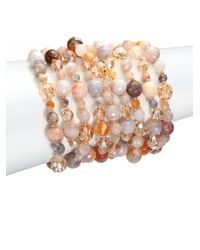 Chan Luu - Multicolor African Opal, Crystal & Leather Multi-strand Bracelet - Lyst
