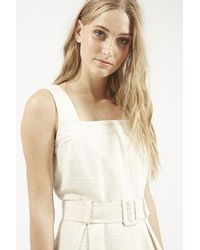 TOPSHOP | Natural Textured Belted Pinafore Dress | Lyst