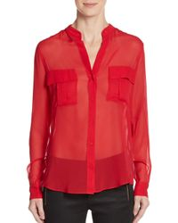 BCBGMAXAZRIA | Red Anderson Sheer Silk Blouse | Lyst