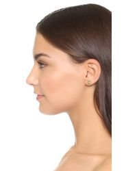 Oscar de la Renta - Natural Crystal Leaf Asymmetrical Earring Set - Sand - Lyst