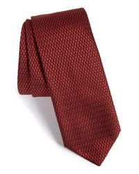 HUGO - Red Geometric Silk Tie for Men - Lyst